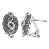 Black White Fashion Diamond Earring - White Gold