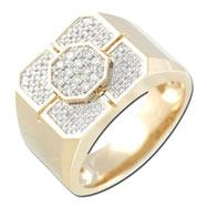 Four Plus One White Diamond Gents Ring - White Gold