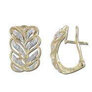 14K Yellow Gold Double Leaf Pattern Diamond Earrings
