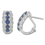 14K White Gold Blue Sapphire Ring with Diamonds Earrings
