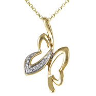 Butterfly Lightweight Yellow Gold Diamond Necklace