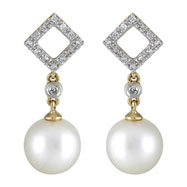 Fresh Water Pearl Diamond Yellow Gold Earrings