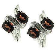 14K White Gold Garnet & Diamond Earrings
