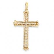 14k Diamond Budded Cross Pendant