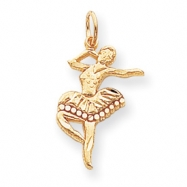 10k Solid Diamond-cut Ballerina Charm