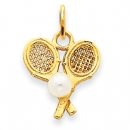 14k Tennis Racquets with Cultured Pearl Charm