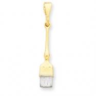 14k & Rhodium 3-D Paint Brush Pendant