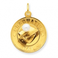 14k Graduation Disc with Cap & Cultured Pearl Charm