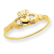 14k Childs Polished Claddagh Ring