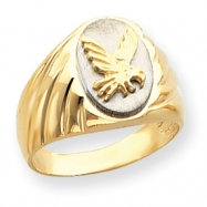 14k Two-Tone Grooved Polished Eagle on Top Mens Ring