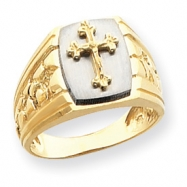 14k Two-Tone Cross on Top Mens Ring