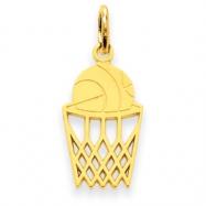 14k Basketball in Net Charm
