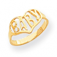 14k Polished Baby Heart Ring