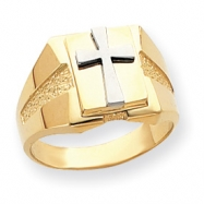 14k Two-tone Polished Cross on Top Mens Ring
