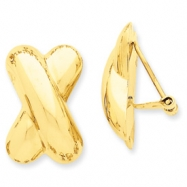 14k Polished X Omega Back Post Earrings