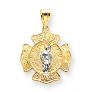 14k Two -Tone Saint Florian Medal Pendant