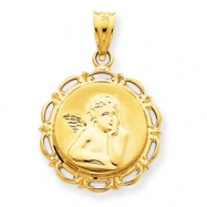 14k Satin & Polished Angel Charm