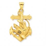 14k Diamond-cut Medium Anchor w/Shark Charm