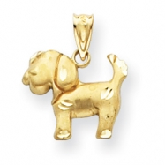14k Diamond-Cut Dog Charm