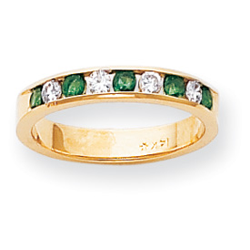 14k 2.25mm Emerald AA Diamond Anniversary Band ring