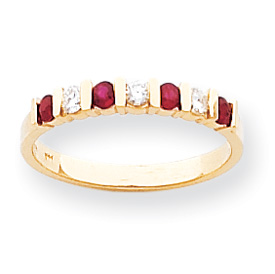 14k 2.25mm Ruby A Diamond anniversary band