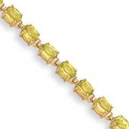 14k 6x4mm Oval Peridot bracelet