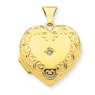 14k Domed Diamond Heart Locket