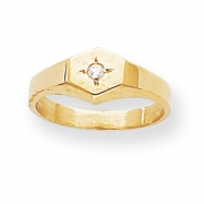 14k A Diamond signet ring