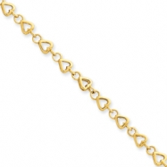 14k 9in Polished Fancy Link Heart Anklet