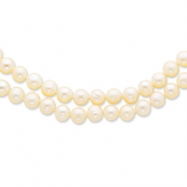 14k 7.5-9mm 2 Strand Cultured Pearl Necklace chain