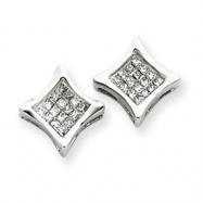 14k White Gold AA Quality Completed Fancy Diamond Earrings