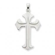 14k White Gold Fleur de lis Cross Pendant
