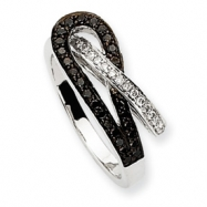 14k White Gold Black & White AA Diamond Ring
