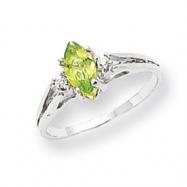 14k White Gold 8x4mm Marquise Peridot A Diamond ring