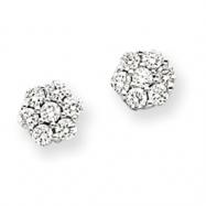 14k White Gold AA Diamond Vintage Earrings