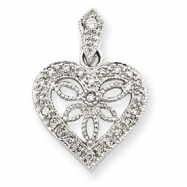 14k White Gold Vintage Diamond Heart Pendant