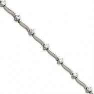 14k White Gold 7in Holds 14 2.6mm Stones .98ct Bar Link Tennis Bracelet Mou