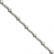 14k White Gold 7in Holds 14 2.6mm Stones .98ct Bar Link Tennis Bracelet Mou