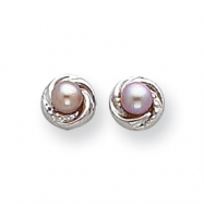 14k White Gold Pink Cultured Pearl with Wreath Earrings
