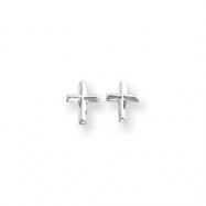 14k White Gold Cross Post Earrings