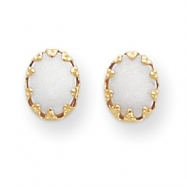 14k Oval Opal Post Earrings
