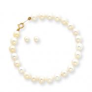 """14k Baby Cultured Pearl Set - 5.5"""" Bracelet & Screwback Earrings"""""""""""