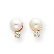14k Cultured Pearl & CZ Earrings
