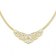 14k Two-Tone 17in Diamond-cut Open-Back Filigree Design Necklace chain