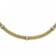 14k Two-Tone 17in 6.75mm .05ct Completed Polished Diamond & Mesh Necklace chain