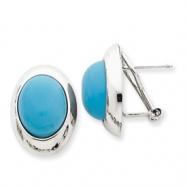 14k White Gold Turquoise Omega Back Post Earrings