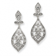 14k White Gold Vintage Diamond Dangle Earrings