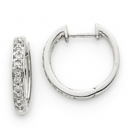 14k White Gold Diamond Complete Hinged Hoop Earrings