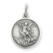 Sterling Silver Antiqued Saint Michael Medal