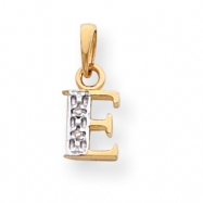 14k & Rhodium Polished .01ct Diamond Initial E Charm